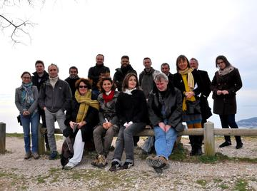 "DYNAMIC members on a field trip in the ""Alpes-Maritimes"" for the Kick off meeting, 27th january 2015. From left to right, K. Diadema, S. La Malfa, A. Baumel, JF. Arrighi, M. Juin, F. Médail, M. Bou Dagher Kharrat, H. Sanguin, E. Tournier, P. Tisseyre, Y. Prin, L. Ouahmane, C. Le Roux, R. duponnois, M. Moakhar © UniCt, S. La Malfa"